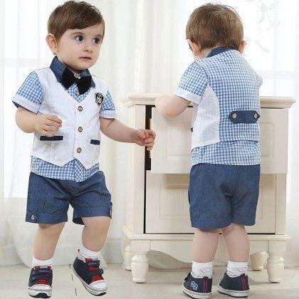 Blue Check Print Shirt Vest & Short Set - Lil Mantra