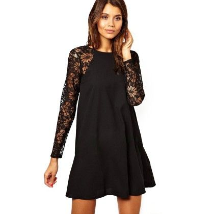 Black Lace Sleeves Dress - STUPA FASHION