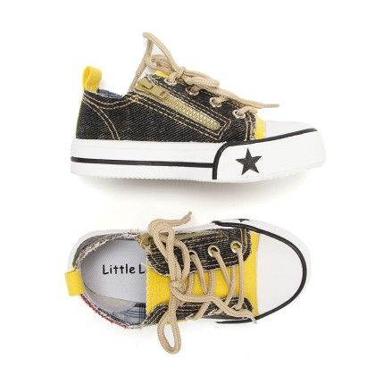 Canvas Casual Lace Up Shoes - Black And Yellow - Little Feet