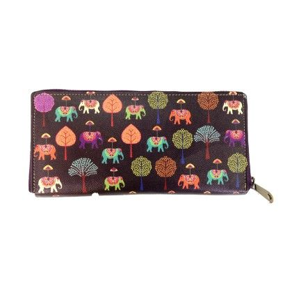 Zipper Wallet Plum Elephants Carnival - The Elephant Company