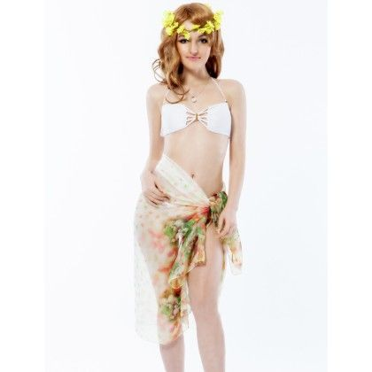 Coverup Beach Dress Sarong White - Long Scarf - Ruby Swimwear