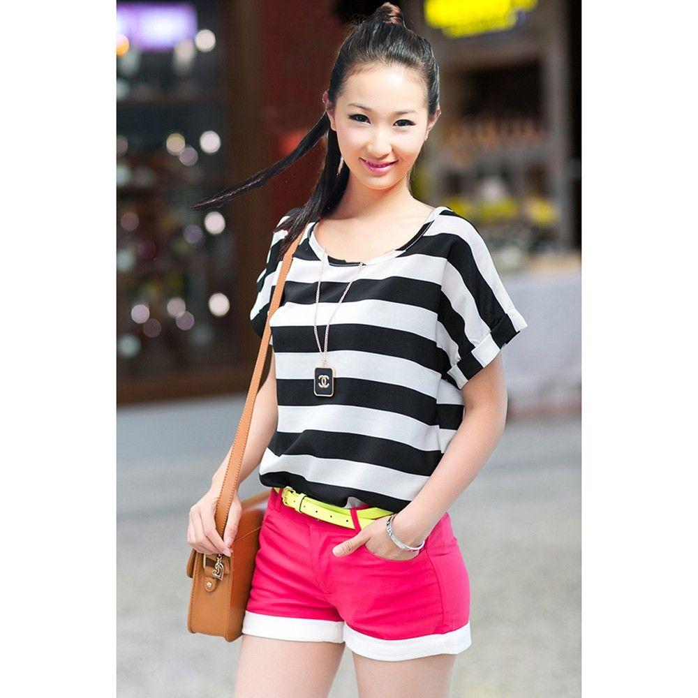 Black-white Stripes Chiffon Top - Dell's World
