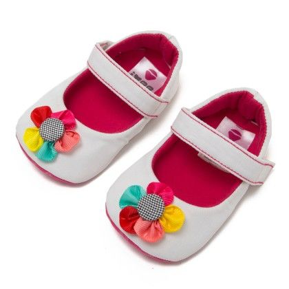 White Booties With Multicolour Flower Applique - Ivee