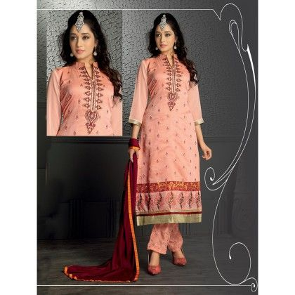 Embroidered Designer Wear Dress Material With Red Dupatta - Balloono - 303795