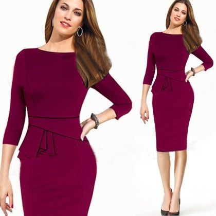 Elegant Wine Pencil Dress - STUPA FASHION