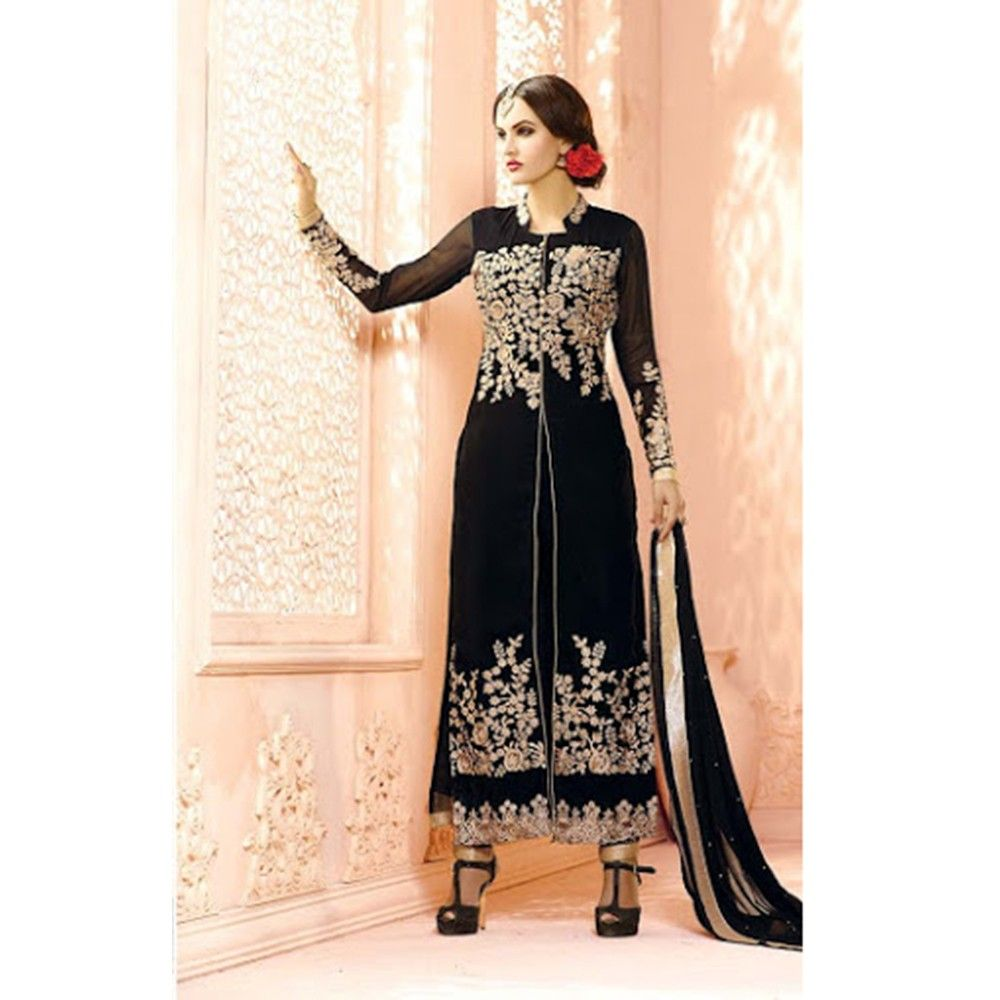 Suit And Skirt Semistitched Dress Material Black - Balloono