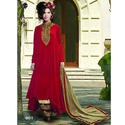 Red Semistitched Ethnic Wear Dress Material - Balloono