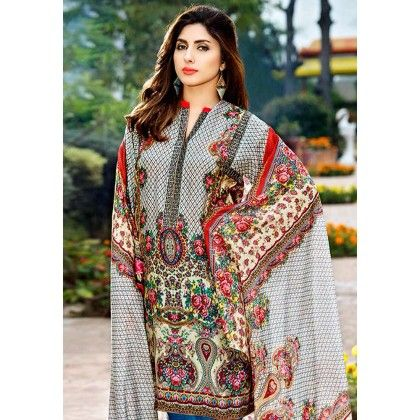 Beautiful Pakistani Style Printed Cotton Dress Material - Grey - Afreen