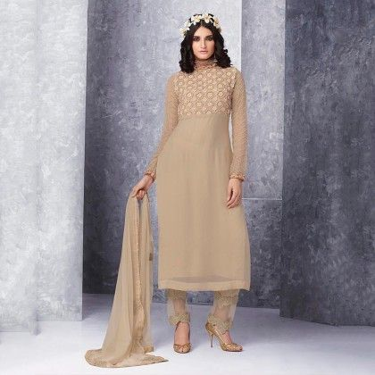 Cream Embroidered Dress Material - Jashn