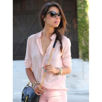 Peach Chines Collar Shirt - Mauve Collection
