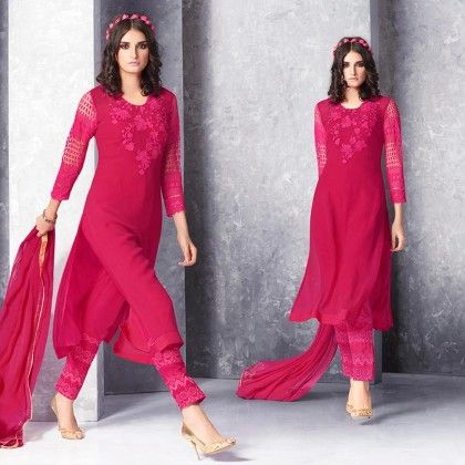 Fuchsia Embroidered Dress Material - Jashn