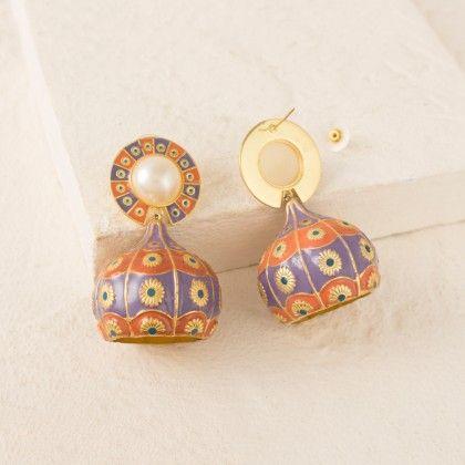 Orange-blue Enamel Decorated Glass Shape Dangler Earrings - Voylla