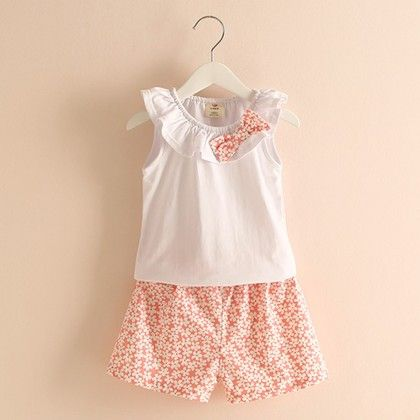 Summer Special Frill Top With Printed Shorts - Mauve Collection