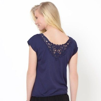 Blue Basic T-shirt With Lace At Back - La Redoute