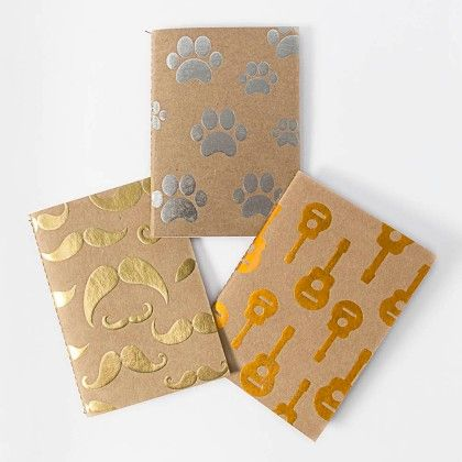Set Of 3 Kraft Foiled Notebooks - Paper Crush