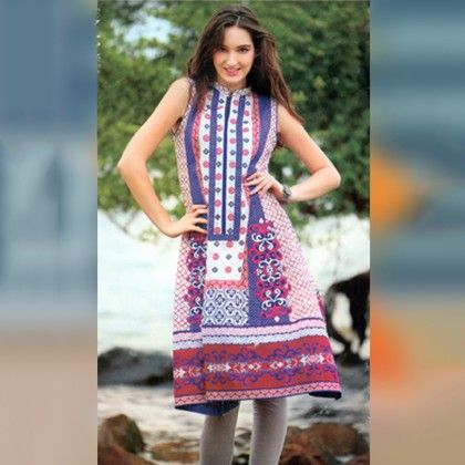 White And Multi Unstitched Kurti - Mauve Collection