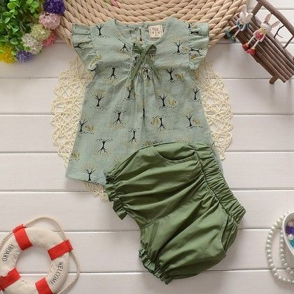 Green Top And Shorts Set - Lil Mantra