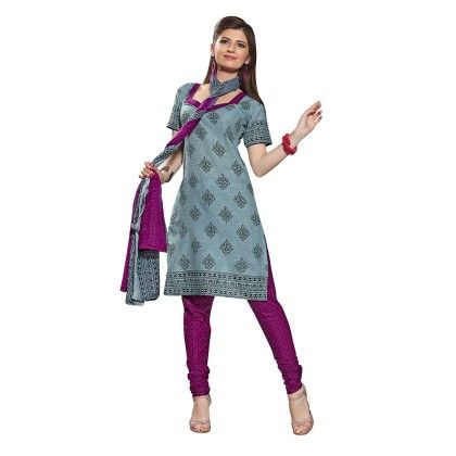 Printed Dress Material With Matching Dupatta-blue - Varanga