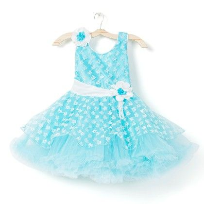 All Over Printed Party Dress - Sky Blue - My Princess