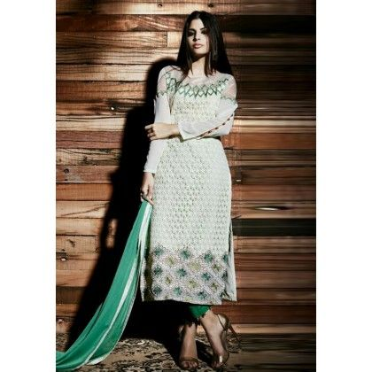 Pret Collection Green Embroidered Georgette Dress Material - Afreen