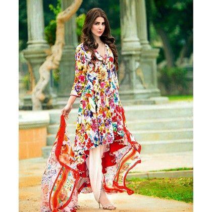 Beautiful Pakistani Style Floral Printed Cotton Dress Material - White Multi - Afreen