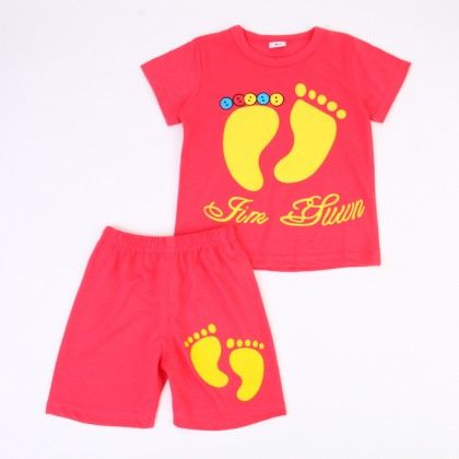 Cute Foot Print Top And Shorts Set - Dark Red - Ton