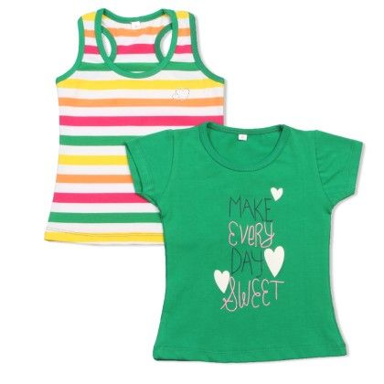 Green Make Everyday Sweet Printed T-shirt Sets - O'Carina