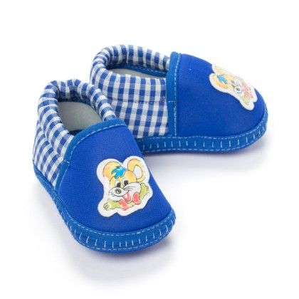 Mouse Applique On Slip On Baby Booties - Blue - Bubbles