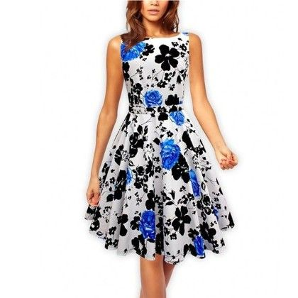 Blue Floral Flared Dress - STUPA FASHION