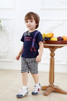 Cute Suspender Print T-shirt With Shorts - Set Of 2 - Navy - Dapper Dudes