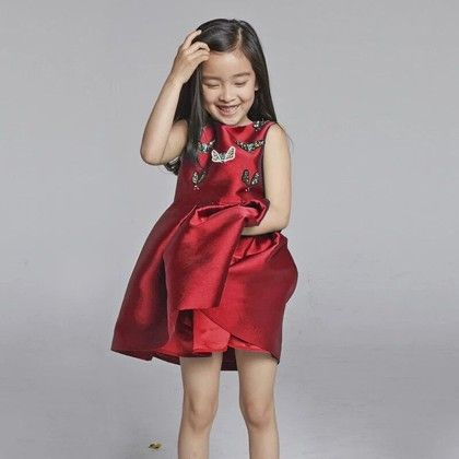 Red Butterfly Applique Party Wear Frock - Lil Mantra