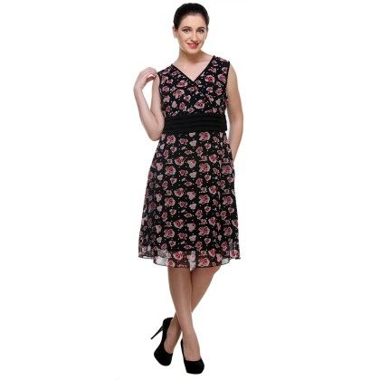 Black Printed Georgette Printed Dress - Varanga