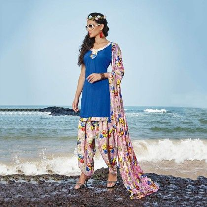 Blue With Multicolor Salwal And Dupatta Dress Material - Balloono