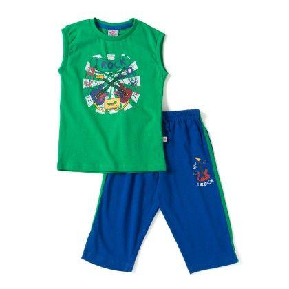 Green T-shirt With Blue Bottom Sets - Punkster