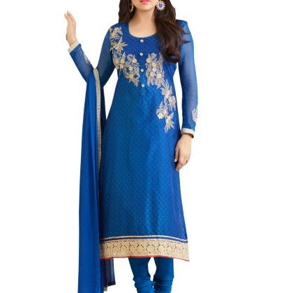Blue Thread Work With Jari & Lace Suit - Touch Trends Ethnic