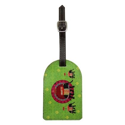 Luggage Tag Green Elephant Butti - The Elephant Company