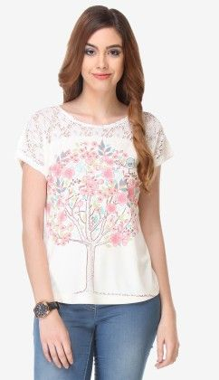 Varanga Printed Off White-multi Color Knitted Top - 311961