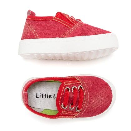 Canvas Slip On Shoes - Red - Little Feet