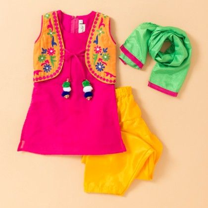 Hand Emboidered Pom Pom Kurta & Salwar Set- Pink - BownBee