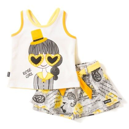 Girl Print Yellow T-shirt And Shorts Set - Toys