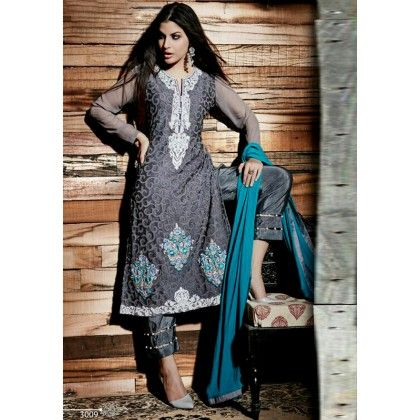 Pret Collection Dk Grey Embroidered Georgette Dress Material - Afreen