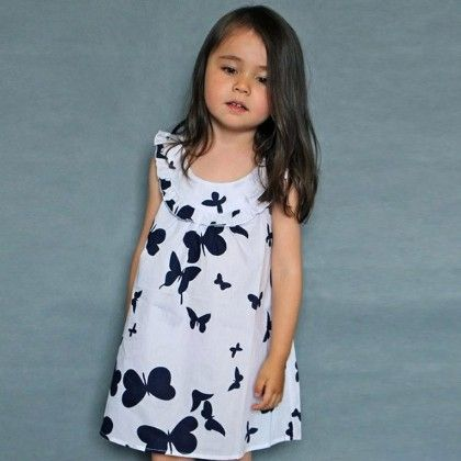 Cute Butterfly Print Dress- White - Mud