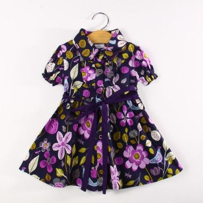 Purple Floral Print Dress With Collar And Sash Tie - Koolee