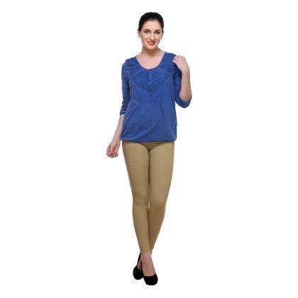 Sky Blue Cotton Knitted Printed Tops - Varanga