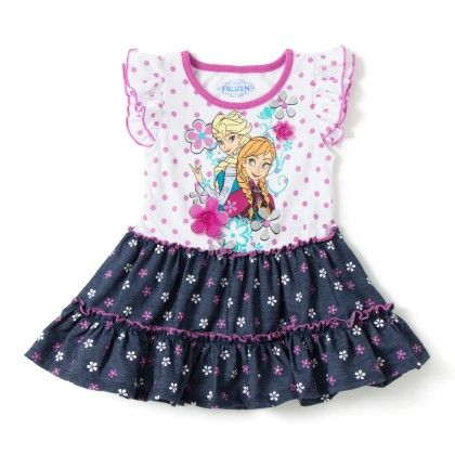 White And Navy Girls Knit Dress - Disney By CAN