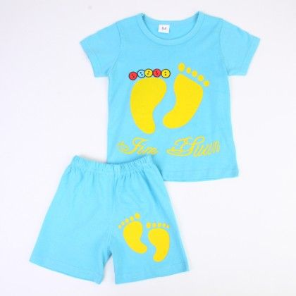 Cute Foot Print Top And Shorts Set - Blue - Ton