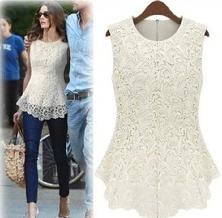 Slimfit Sleevless Lace White Top - Dell's World