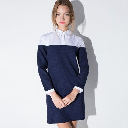 Navy And White Dress For Womens - Drama Queen