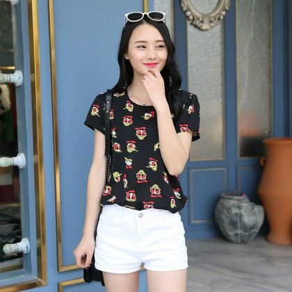 Cartoon Print Chiffon Short Sleeve Top - Dell's World