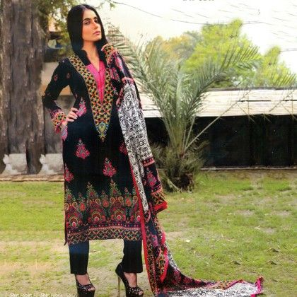 Imaan Black & Pink Semistitched Suit - Mauve Collection